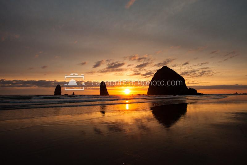 Haystack Rock Golden Summer Sunset, Oregon Coast Pictures