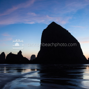 Haystack Rock Monolith Silhouetted