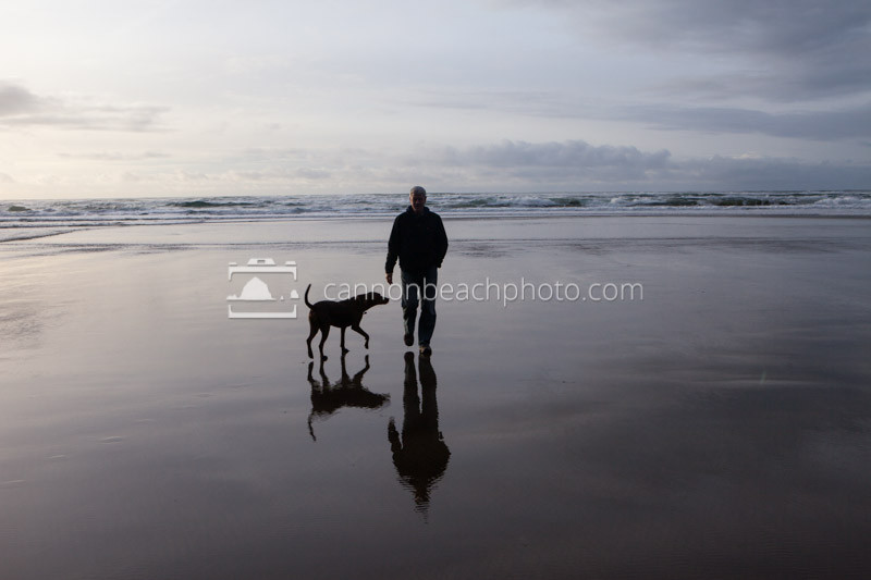 Man and Dog, Beach Reflection