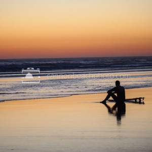 Quiet Moment for Surfer at Sunset, Oregon Coast, Horizontal