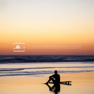 Quiet Moment for Surfer at Sunset, Oregon Coast, Vertical