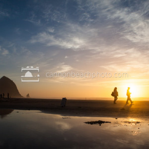 Reflective Haystack Rock Sunset Walk, Horizontal