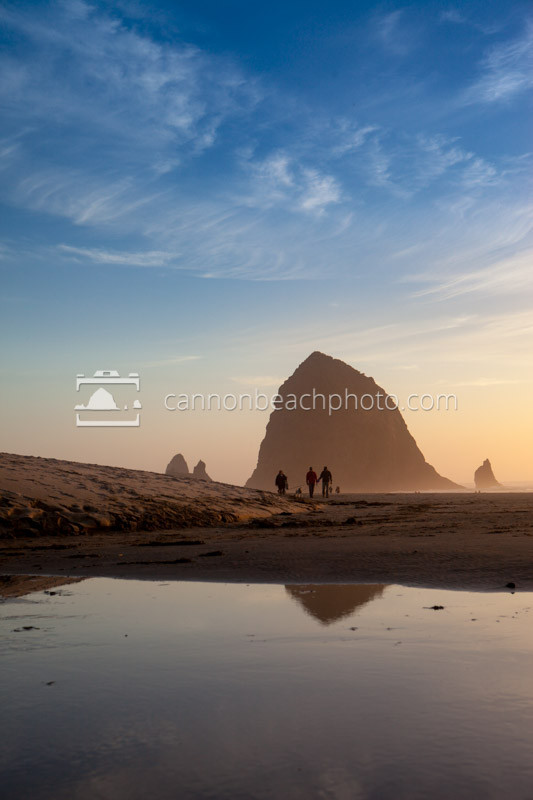 Reflective Haystack Rock Sunset Walk, Vertical