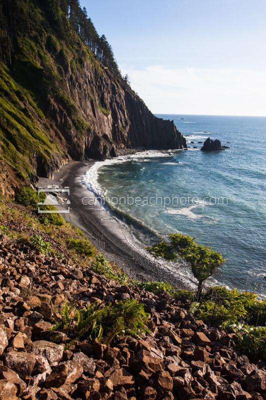 The dramatic cliffs of the Oregon Coast at Cape Falcon near Manzanita, Oregon.