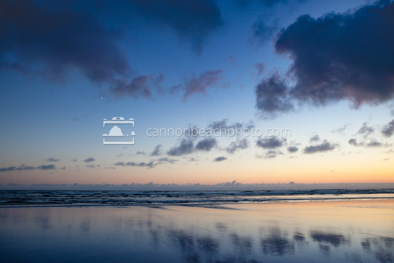 Simple Sky and Ocean with Crescent Moon