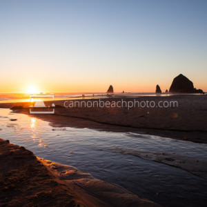 South Creek and Haystack Rock at Sunset