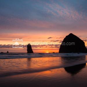 Sunset at Haystack Rock, Orange and Blue Skies