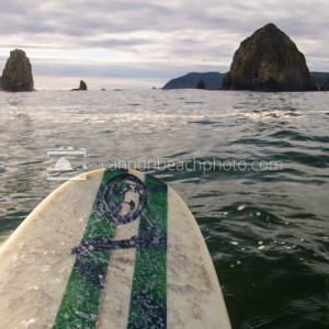 Surfing at Haystack Rock