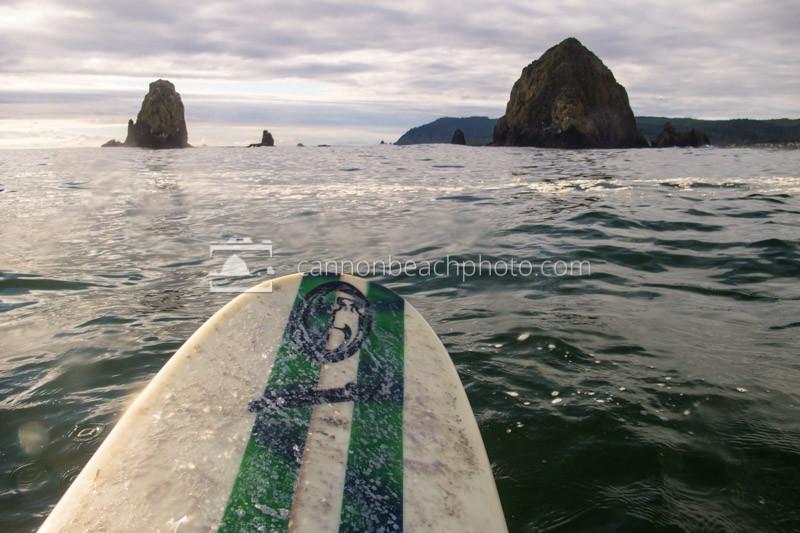 Surfing at Haystack Rock