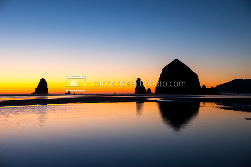 Vibrant Evening Glow, Haystack Rock Picture in Cannon Beach, Ore