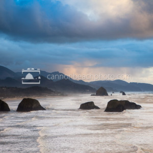 View of Cannon Beach from Ecola State Park with Storm Clouds
