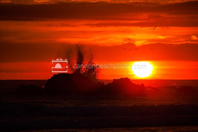 Wave Splash in Red Sunset