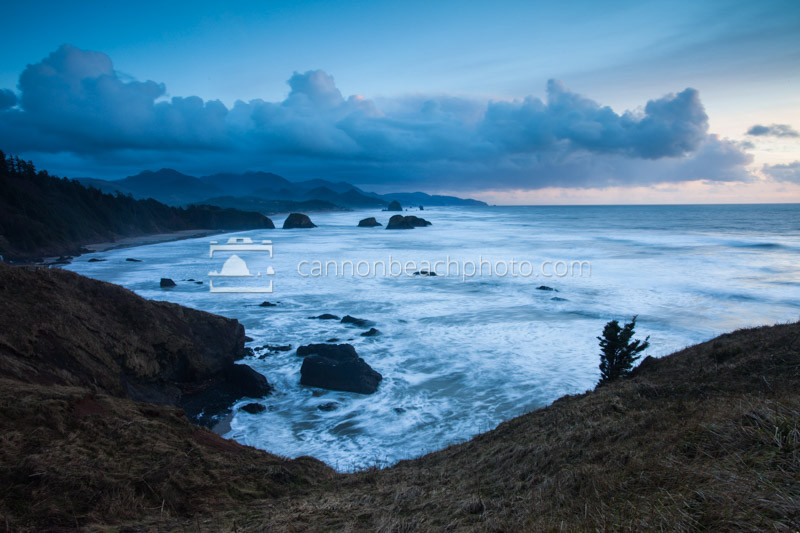 Wide Angle View from Ecola Point, Stormy Evening