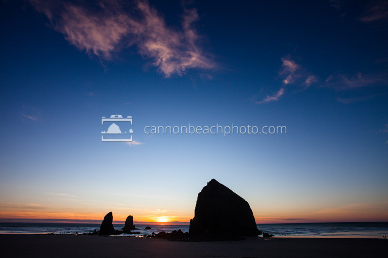 Wide Angle View of Haystack Rock with Negative Space