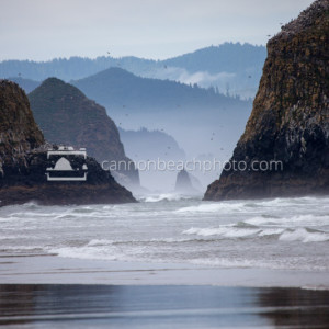 Zoom of Haystack Rock thru the Seastacks