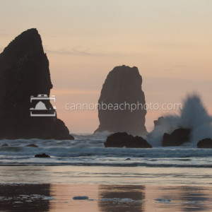 Evening Sunset Wave Splash at the Needles