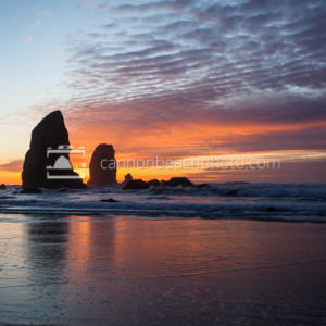 Glowing Oregon Coast Sunset with Needles Seastacks