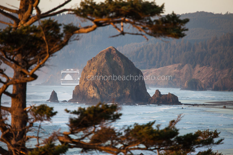 Golden Haystack Rock Framed Horizontal