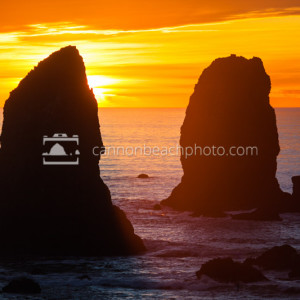 Golden Sunset with the Needles in Cannon Beach, Oregon