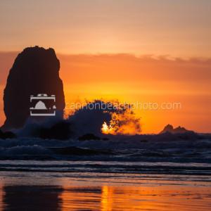 Orange Sunset Wave Splash at the Needles