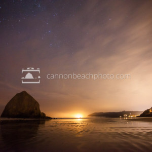 Starry Skies and Haystack Rock and City Light