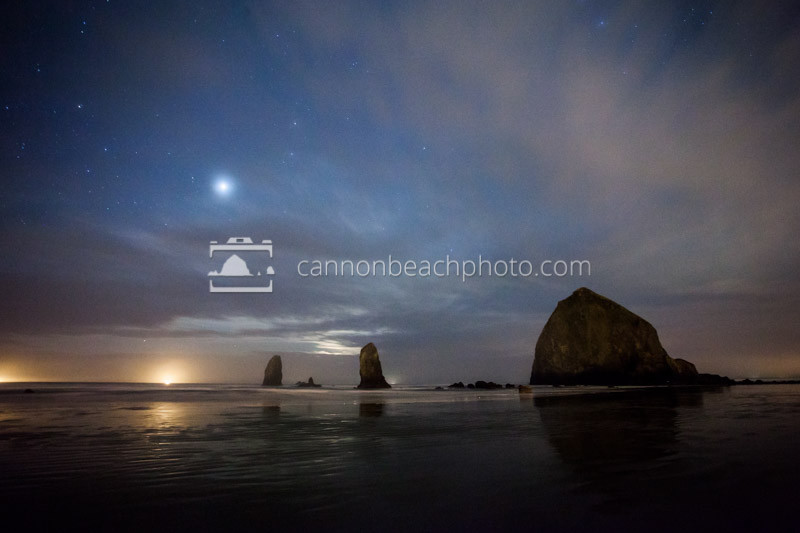Stars and Clouds Over Haystack Rock