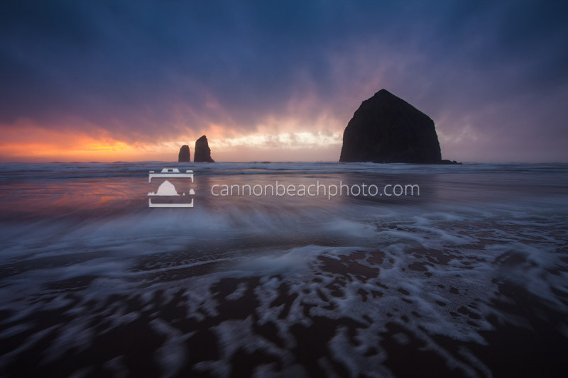Stormy Sunset in Blues at Haystack Rock