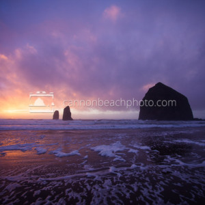 Stormy Sunset in Magenta at Haystack Rock