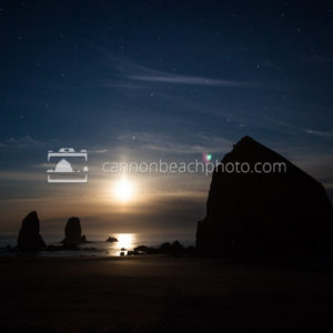 Moonset at Haystack Rock
