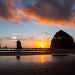 Epic Sunset Sky above Haystack Rock
