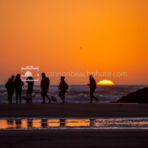 Family Grouping at Sunset in Cannon Beach