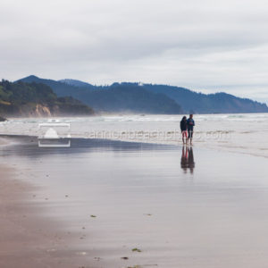 Romantic Couple Walking the Oregon Coast