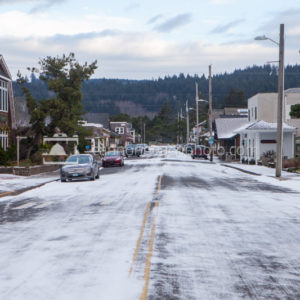 Snow in Downtown Cannon Beach