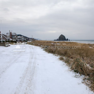 Snow on Ocean Road, Cannon Beach, Oregon