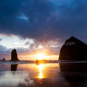 Sun Burst at Haystack Rock
