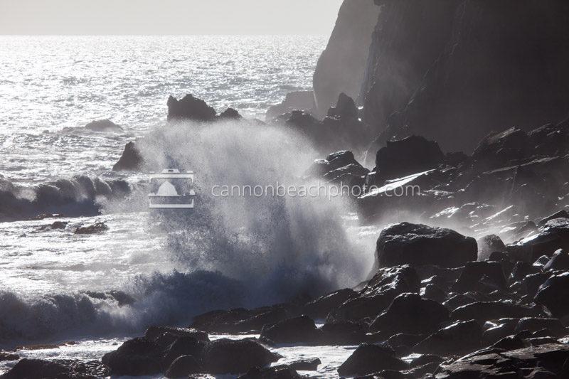 Waves Crash Neahkahnie Cliffs 3Manzanita, Oregon, photo, image