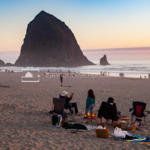 Beach Bonfire at Sunset, Haystack Rock, Horizontal