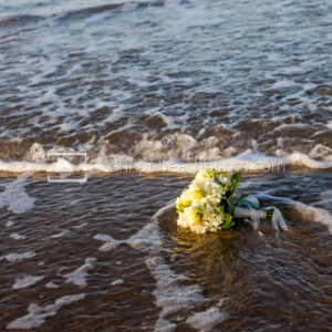Wedding Bouquet in the Surf 1