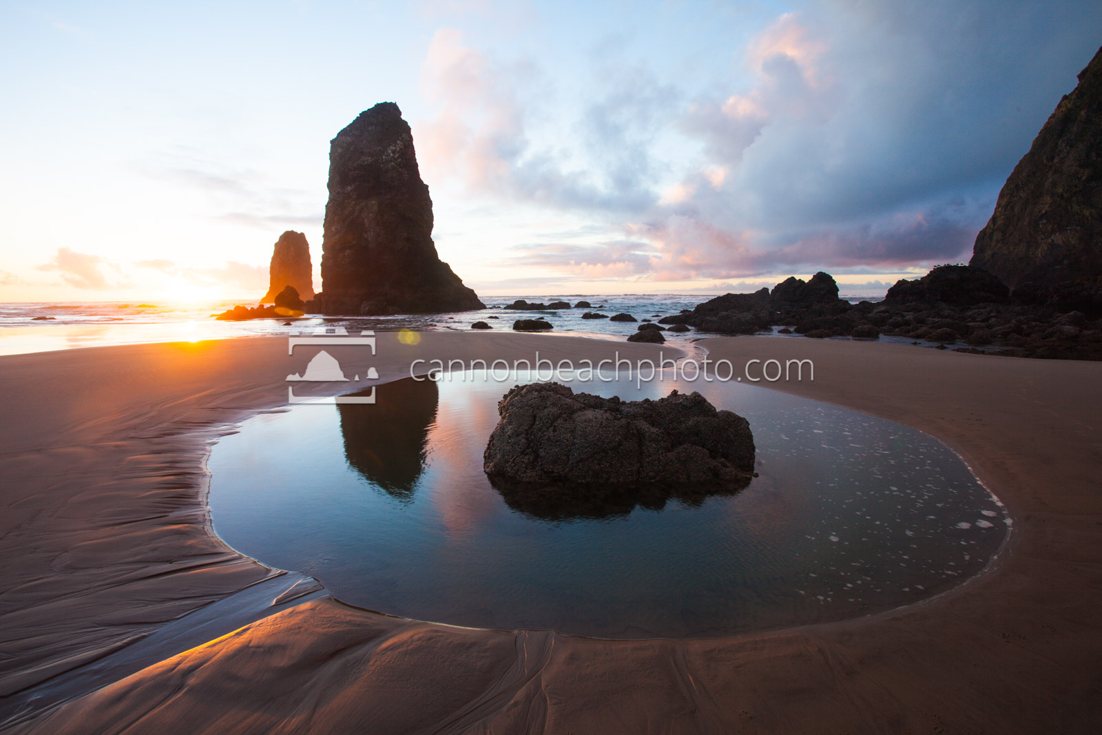 Summer Coastal Photography Haystack Rock Canon Beach Tidepool Oregon Coast