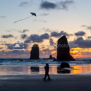 Couple Flying Kite at Sunset 2