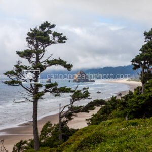 Sunny and Cloudy View North into Cannon Beach