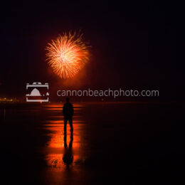 Oregon Coast Fireworks Show, Man Silhouetted