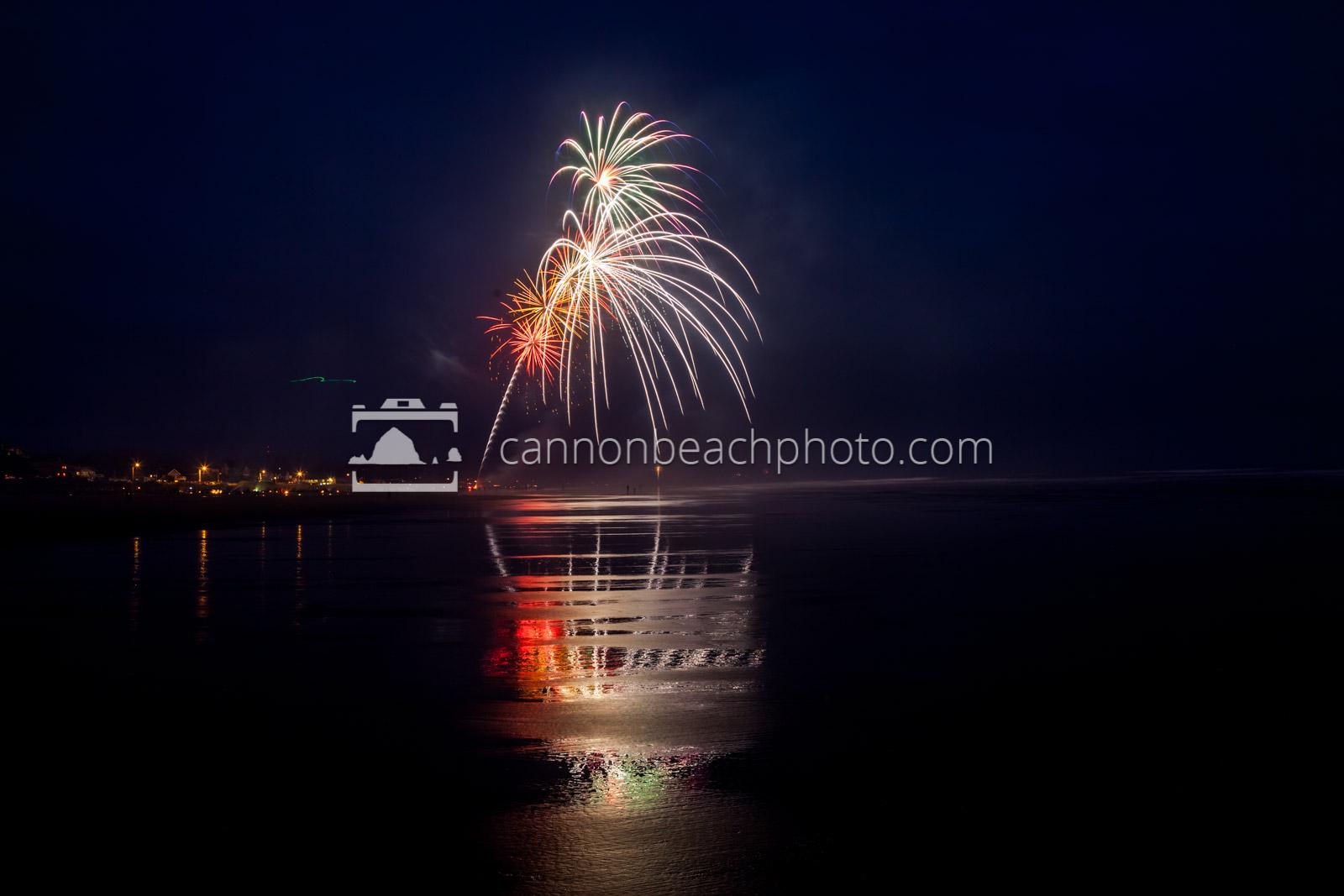 Oregon Coast Fireworks Show Reflecting