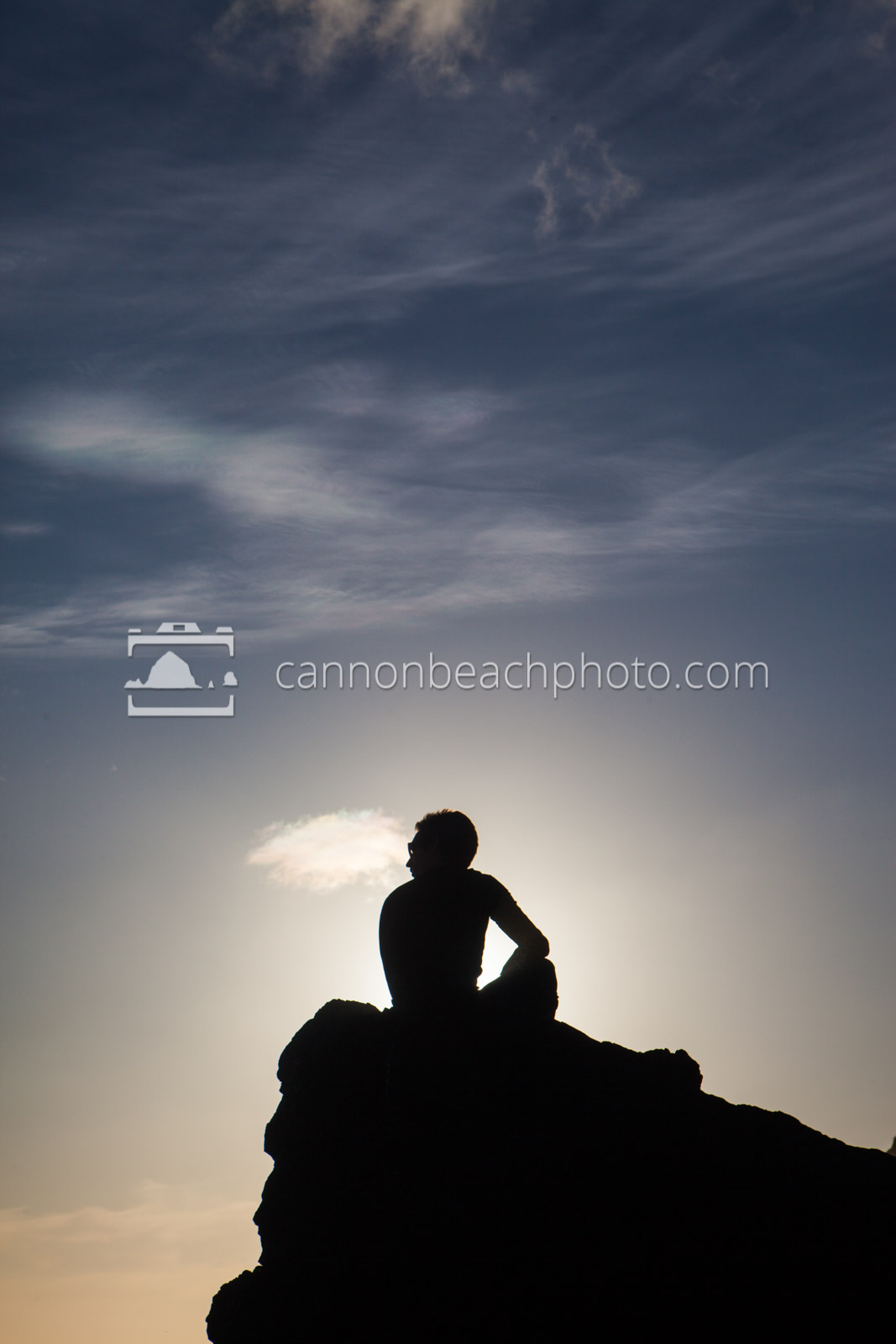 Silhouetted Man Thinking Upon a Rock 2