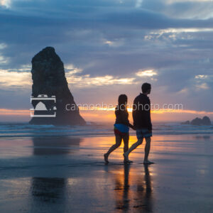 Couple Walking in Sync at Sunset