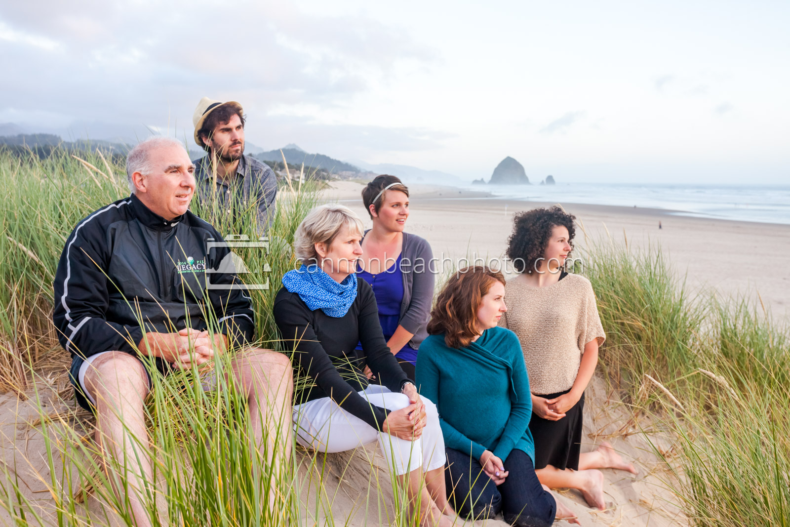Cannon Beach Family Looking to the Ocean