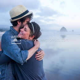 Couple Hugging in Cannon Beach