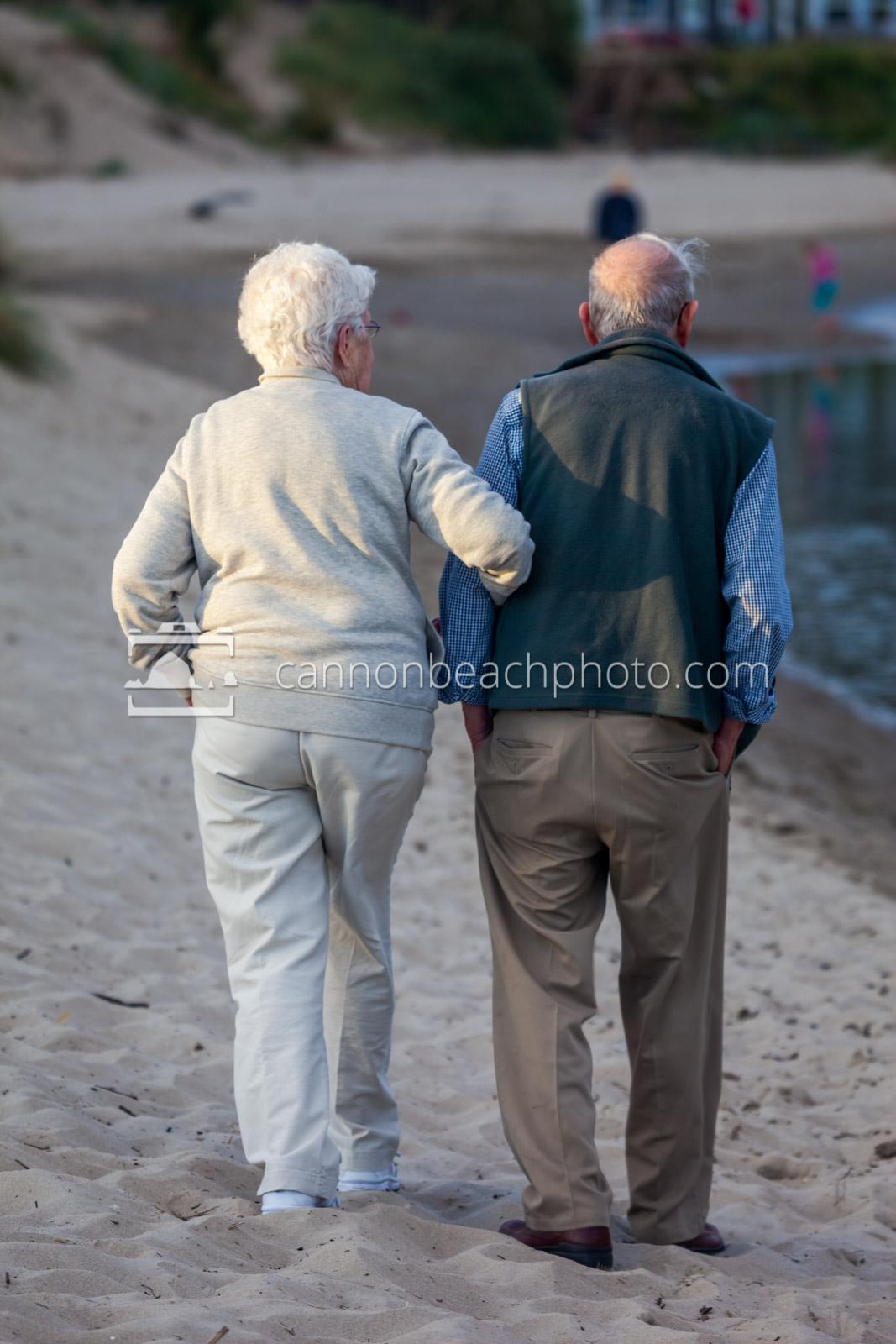 Elderly Couple Walking near Ecola Creek