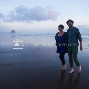 Romantic Couple Walking in Cannon Beach