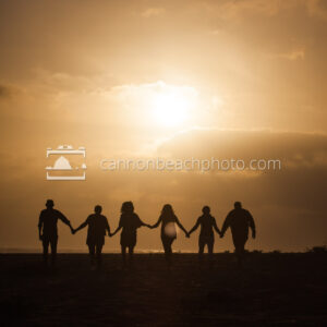 Silhouetted Family Walking Under the Sun